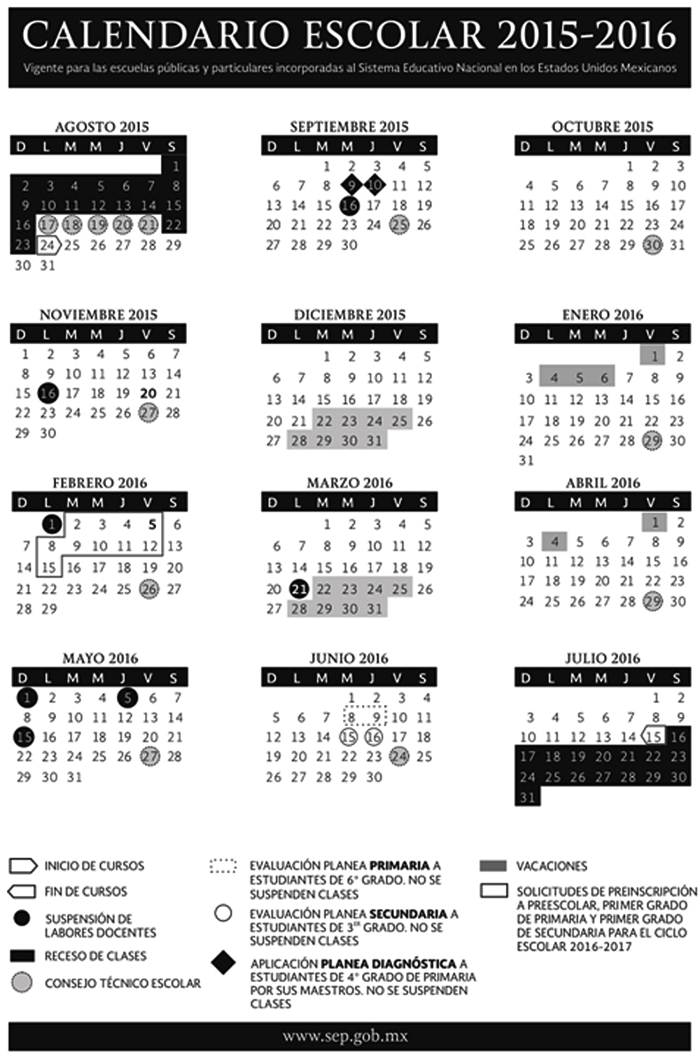 ... SEP publica calendario escolar 2015-2016 del Sistema Educativo